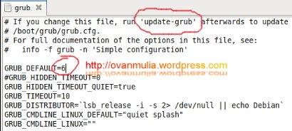 Mengubah Default Boot GRUB Dual OS